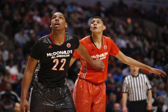 Whitney Young's Jahlil Okafor (22), pictured here at the 2014 McDonald's All-American Game, is the City/Suburban Hoops Report's No. 1 prospect in the Class of 2014.