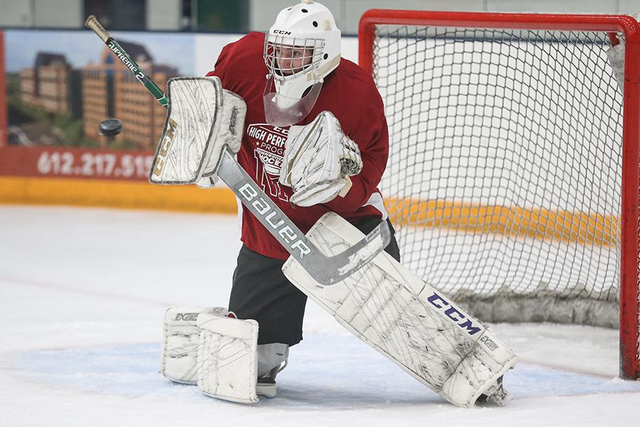 Goaltender Sam Simon (pictured) from Fort Collins and Regis Jesuit's Gage Bussey split time in net and combined for 131 saves in four games at the CCM High School NIT in Plymouth, Minnesota, from April 22-25. Photo by Jeff Lawler, SportsEngine