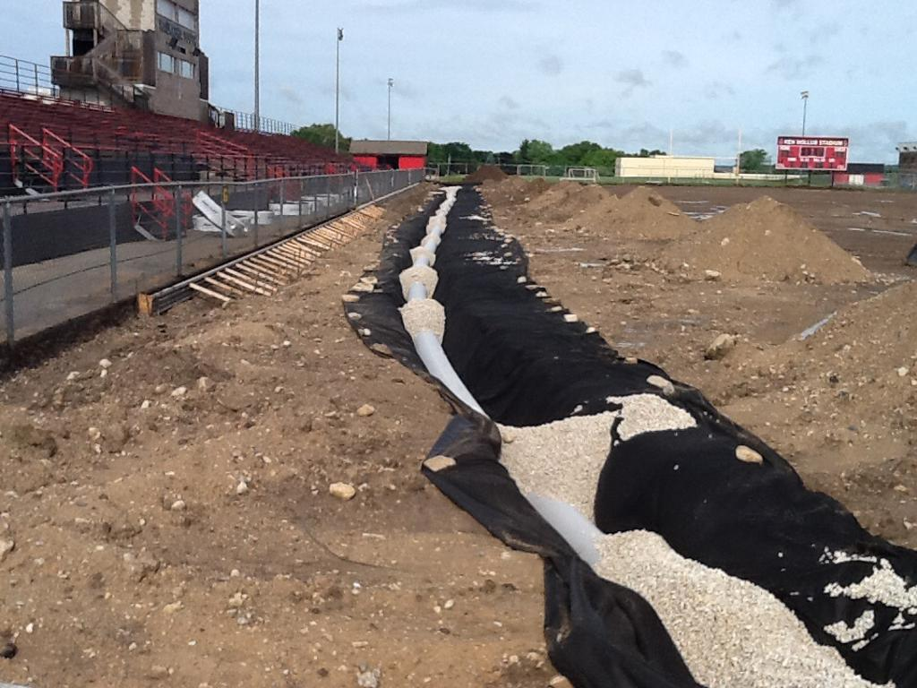 Turf Project June 16 Day 14.  Drainage pipes
