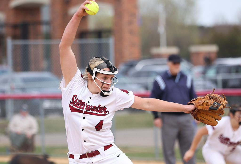 Senior pitcher Allison Benning recorded 10 strikeouts and allowed only two hits, pitching a complete game for a 3-1 Stillwater win over East Ridge. Photo by Cheryl A. Myers, SportsEngine