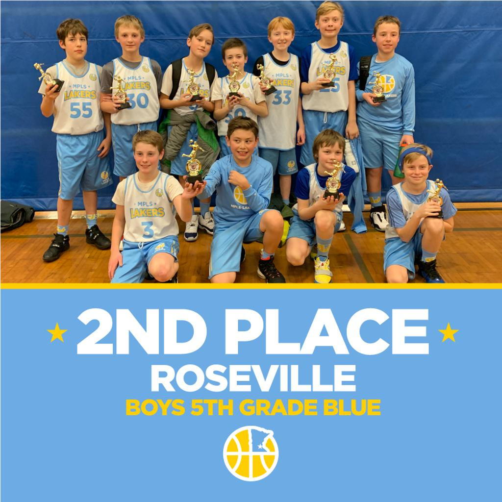 Minneapolis Lakers 5th Grade Blue pose with their hardware after taking 2nd Place at Roseville Winter Classic in Roseville, MN