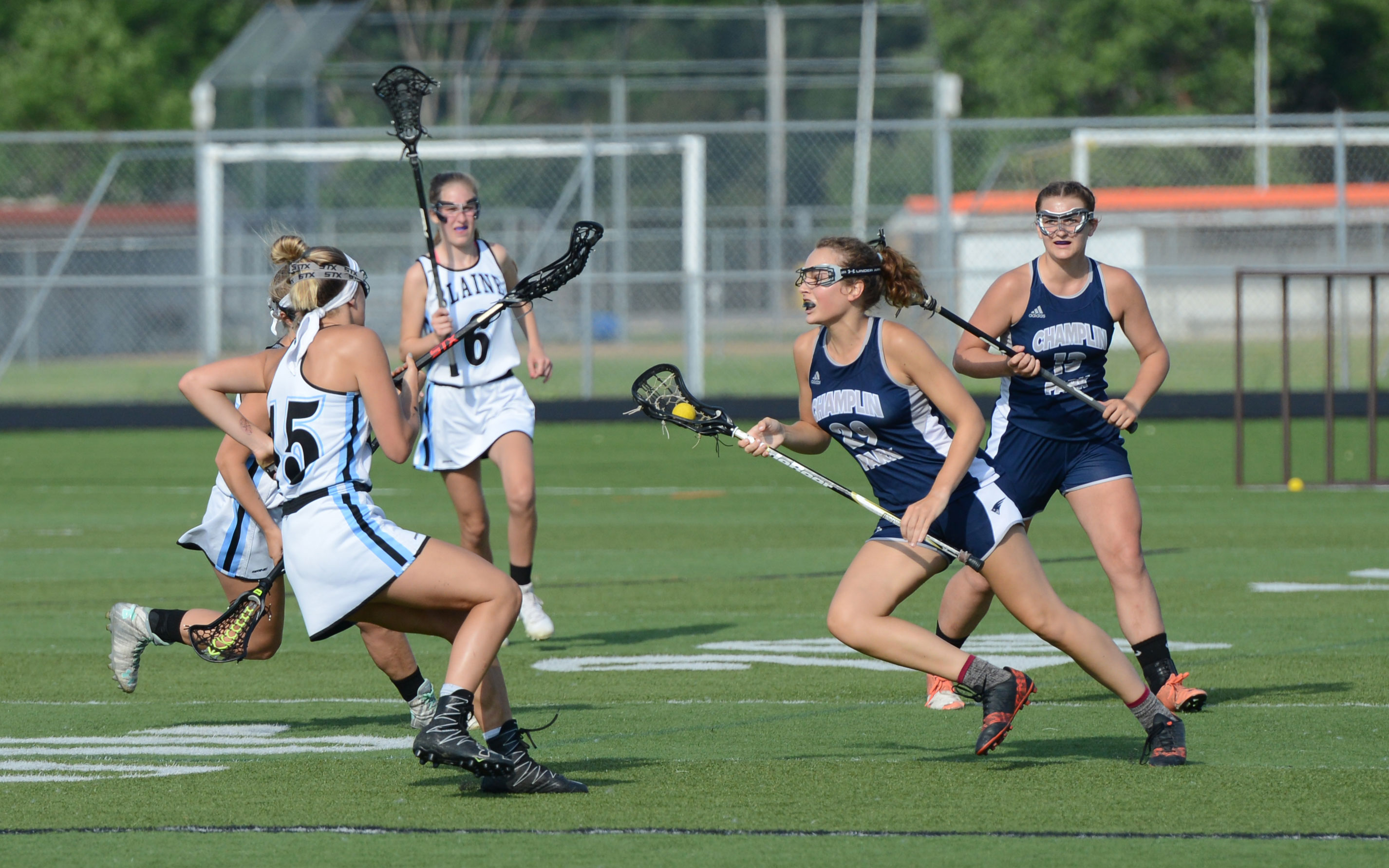 Champlin Park midfielder Lydia Brecht darts up the field against Blaine in the Section 7 championship at Osseo High School on Wednesday. Photo by Carter Jones, SportsEngine