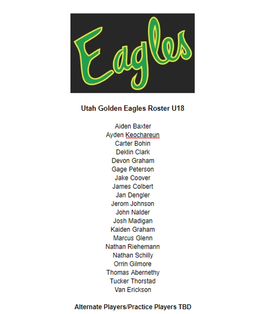 Congratulations to this years 2020-2021 U18 AA Roster