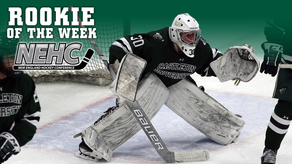 Blazer alum Brandon Collett named the NEHC rookie of the week after a 54 save win against #2 Norwich