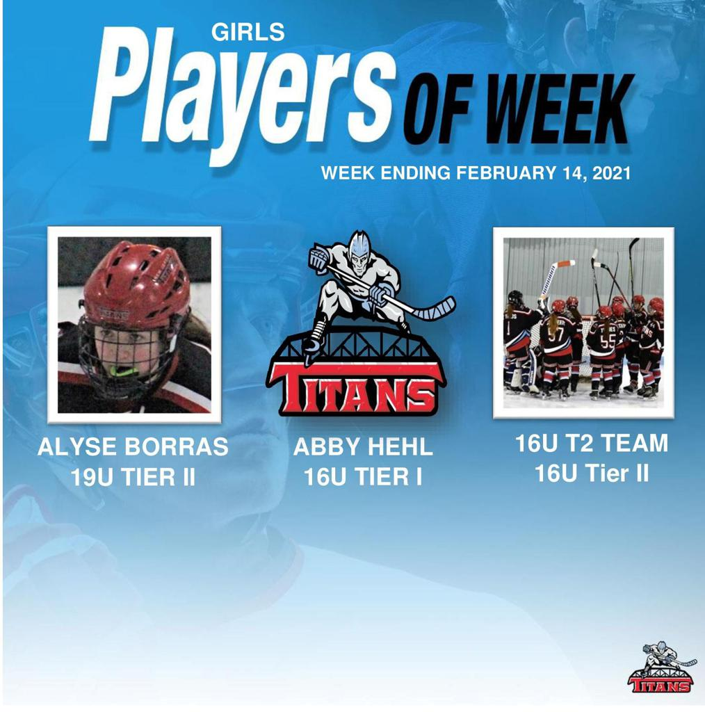 Titans announce Alyse Borras, Abby Hehl, and the Tier 2 Girls team as the Girls' Players of the Week for Week Ending February 14
