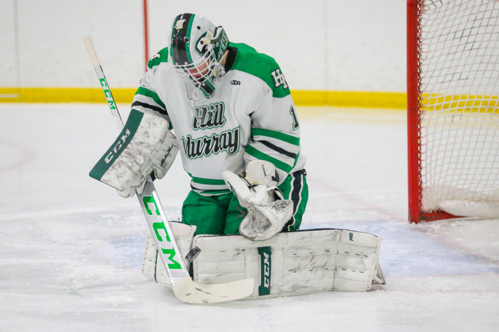 Hill-Murray's Nick Erickson (1) makes a save during the first period of Saturday afternoon's game against Grand Rapids. The defending Class 2A state champion Pioneers fell to the Thunderhawks 2-1. Photo by Jeff Lawler, SportsEngine