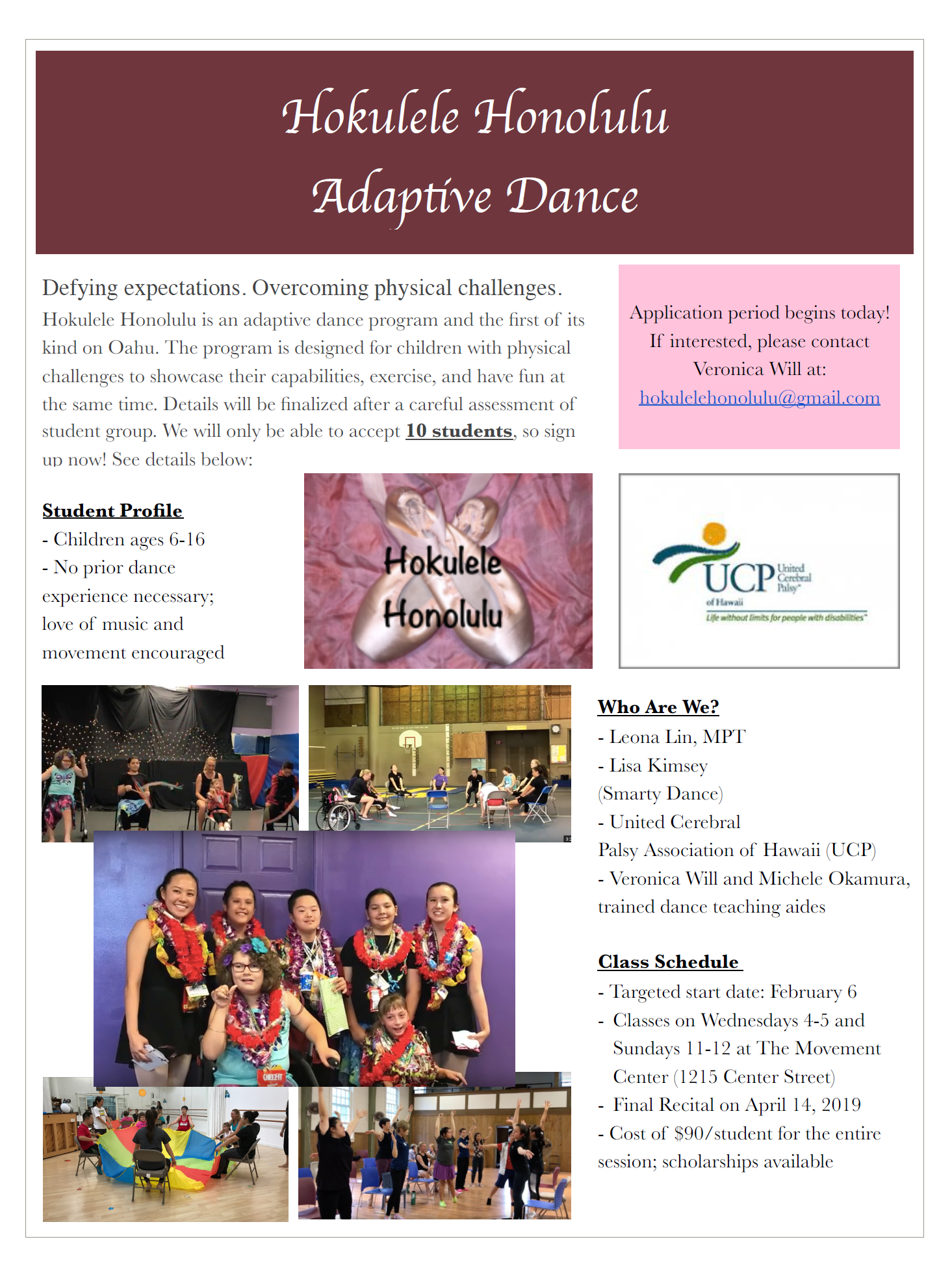 Hokulele Adaptive Dance Flyer 2019