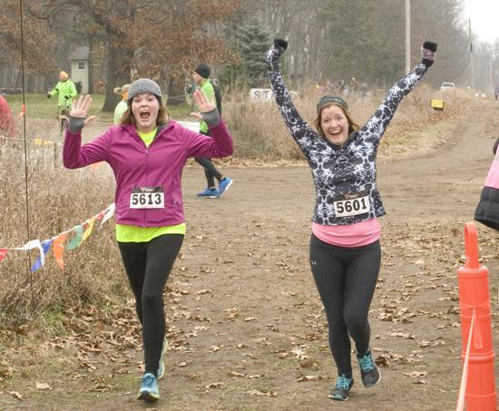 Jubilant Chelsea Stepp5613 and Lana Krantz cross the 10K finish Line!