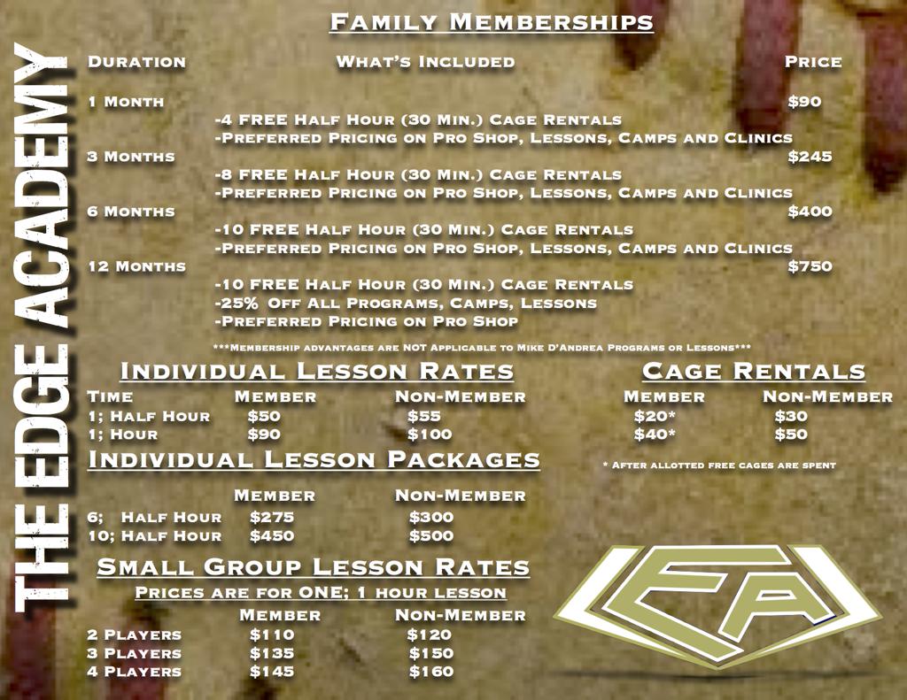 The Edge Academy Price List