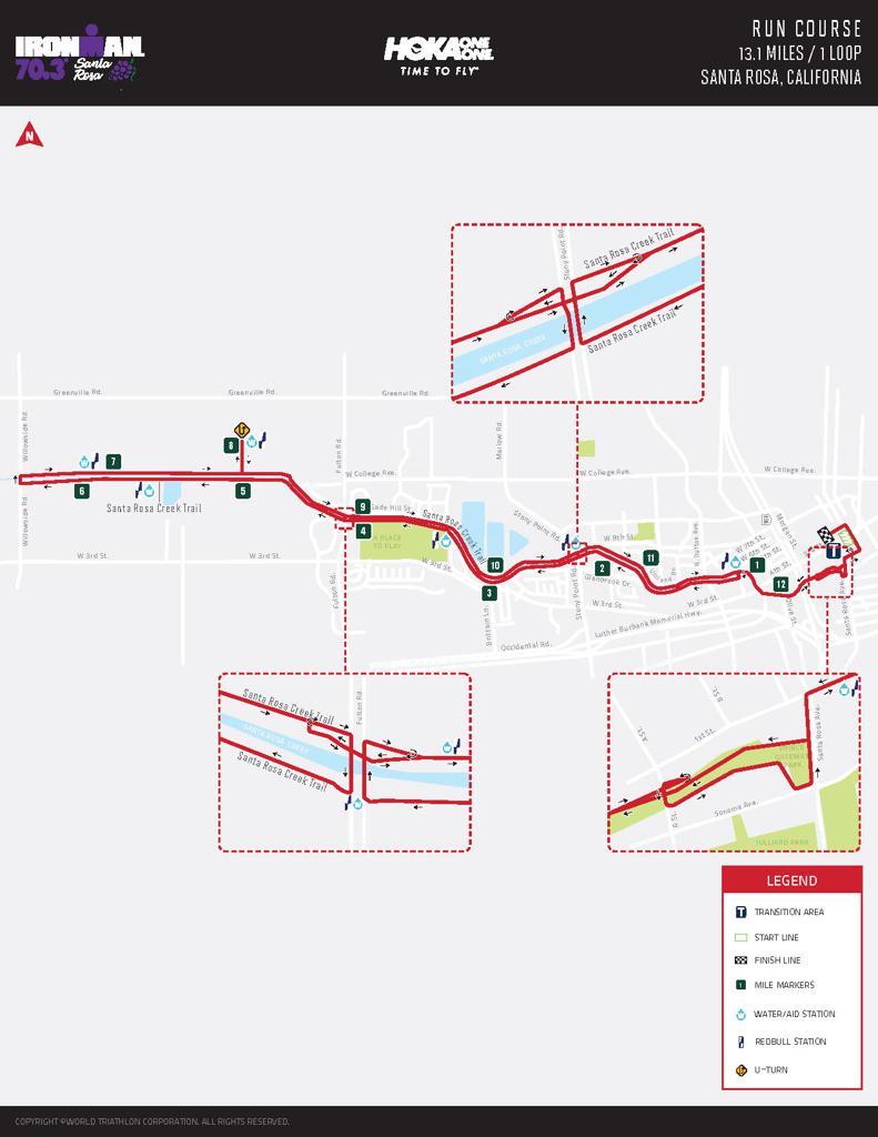 Run course map for IM703 Santa Rosa