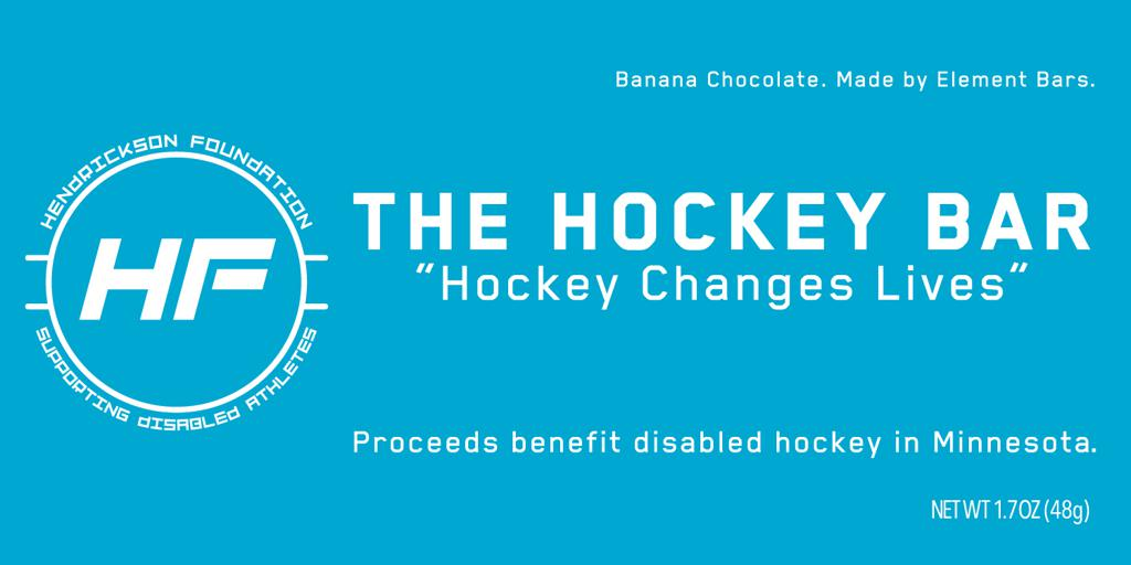 The Hendrickson Foundation is thrilled to introduce our latest fundraising innovation.  We are selling The Hockey Bar, a banana flavored protein bar, with all proceeds benefitting disabled hockey in the state of Minnesota.  The bars are in and ready to go