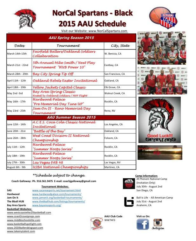 "2015 NorCal Spartans ""Black"" Tournament Schedule"