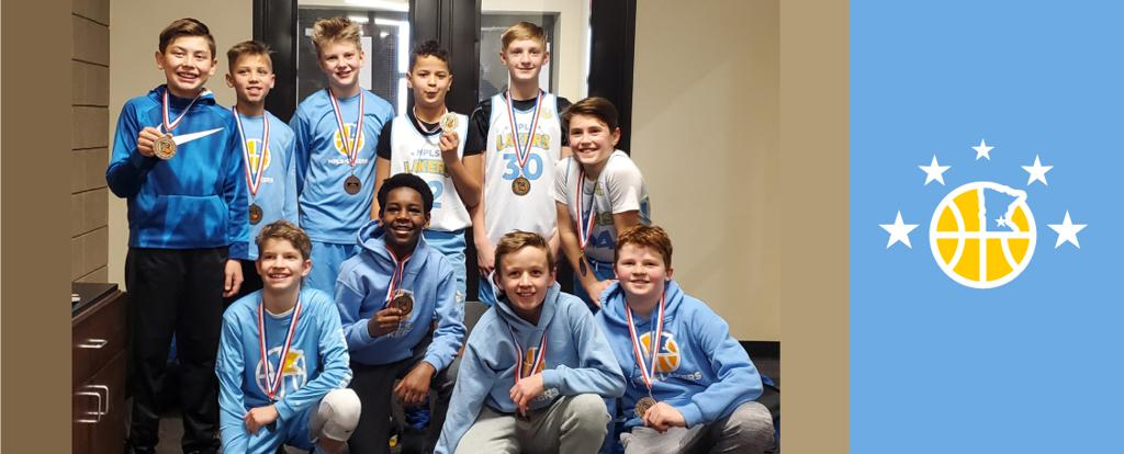Minneapolis Lakers Boys 6th Grade Gold pose with their medals after earning 3rd place at the Concordia Golden Bears Classic tournament in St Paul, MN
