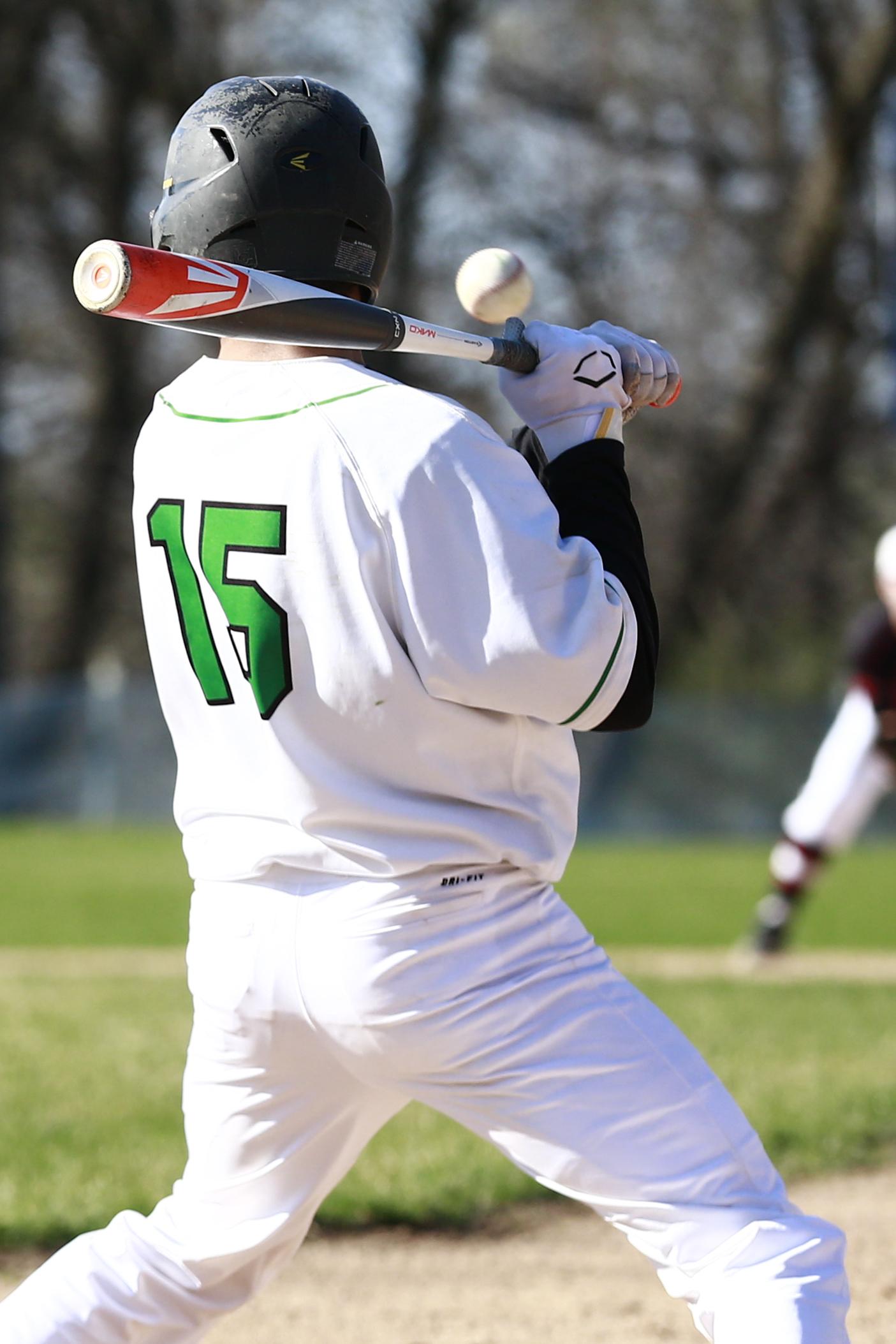 Jacob Chenitz (15) of Blake at bat. Photo by Chris Juhn