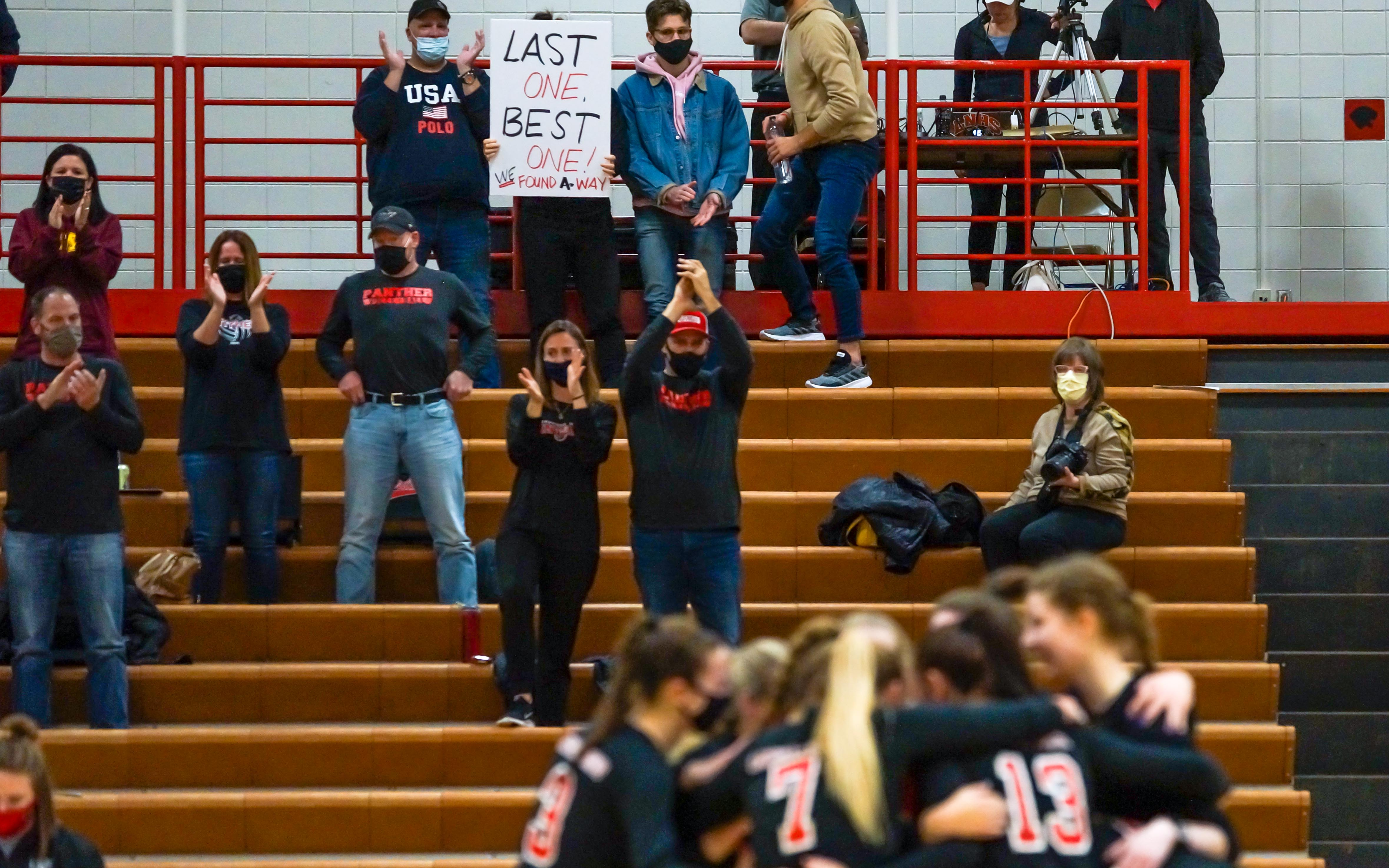 With the Governor Walz's decision to suspend all youth and high school sports Wednesday, Lakeville North parents show their appreciation for the season the Panthers were able to have. Photo by Korey McDermott, SportsEngine