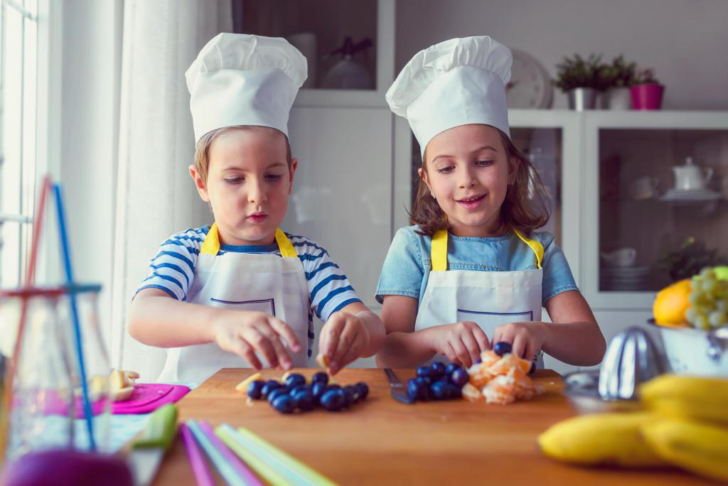 Two kids experimenting in the kitchen