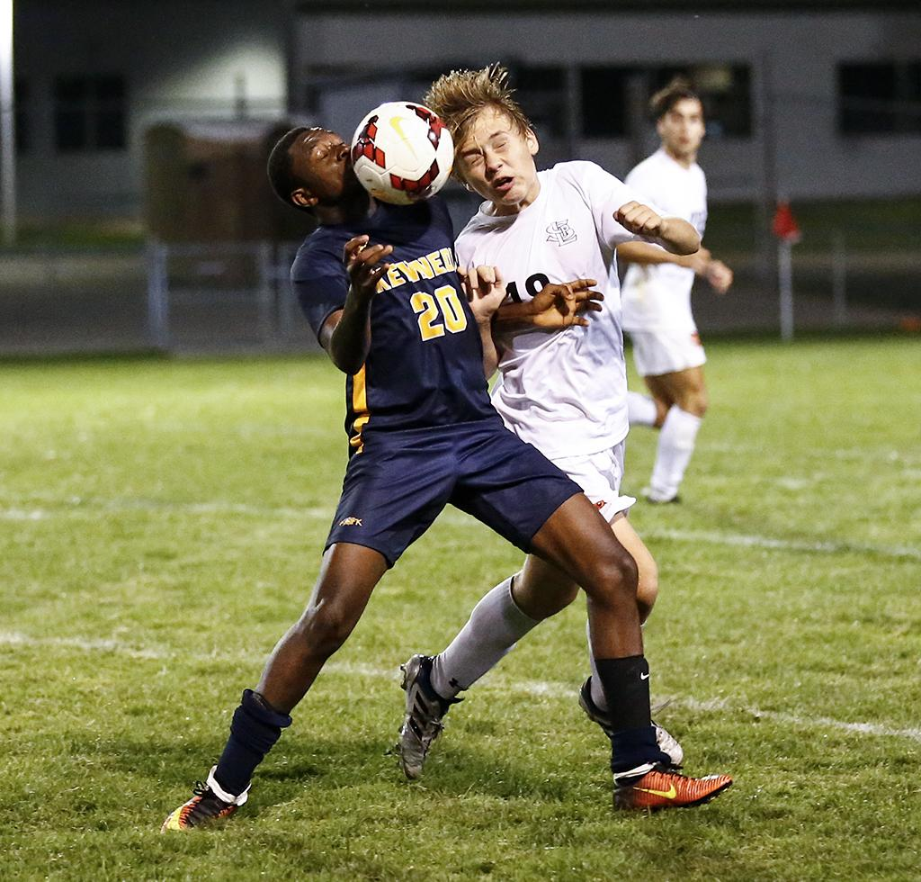 Alan Conteh (20) scored Bloomington Kennedy's only goal of the contest. The Eagles were handed their first loss of the season by the Orioles on Tuesday night. Photo by Cheryl A. Myers, SportsEngine