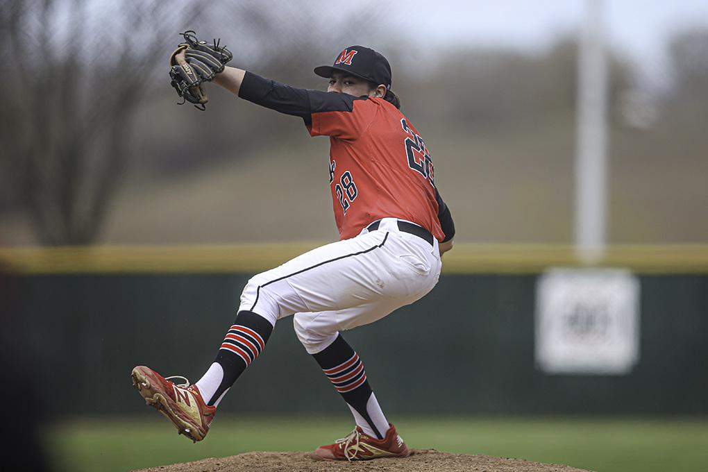 Minnehaha Academy's Owen Santiago pitched a complete game, allowing just two hits and striking out eight, as Minnehaha Academy beat Blake 2-1. Photo by Mark Hvidsten, SportsEngine