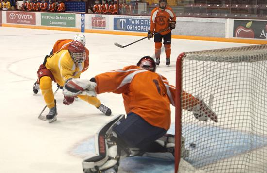 Luverne's Jaxon Nelson scores at this summer's University of Minnesota Model Camp. Photo credit: YHH.