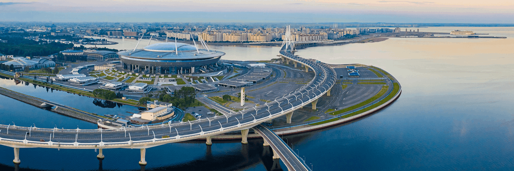 Gazprom stadium in St. Petersburg Russia surrounded by Neva river and highways