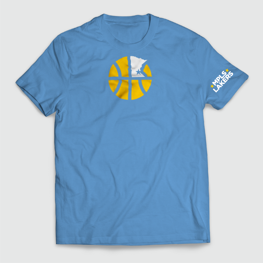 Official Mpls Lakers Youth Traveling Basketball Program Inc apparel and gear in Minneapolis, MN: Screen printed logo on Blue t-shirt