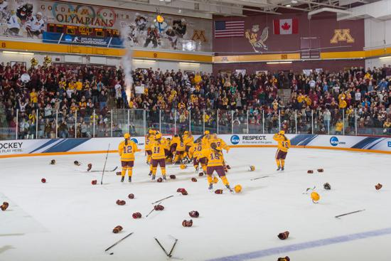 Minnesota celebrates its third national championship in four years after defeating Harvard 4-1 at Ridder Arena in March. Photo credit: Brad Rempel, Gopher Athletics.