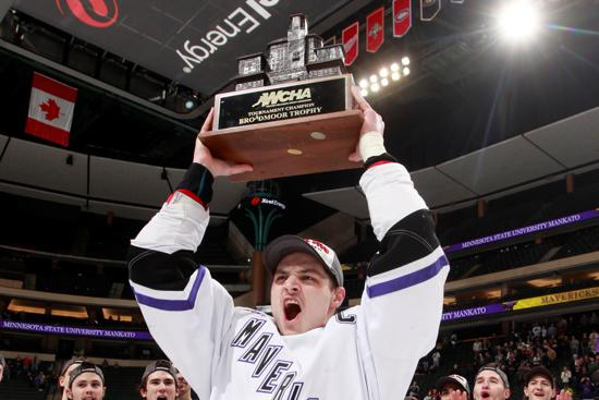 Minnesota State took home the Broadmoor Trophy, winning the WCHA Final Five. The Mavericks superb 2014-15 season was ended by Rochester Institute of Technology, 3-2, in the opening round of the NCAA tournament. Photo credit: Minnesota State Athletics.