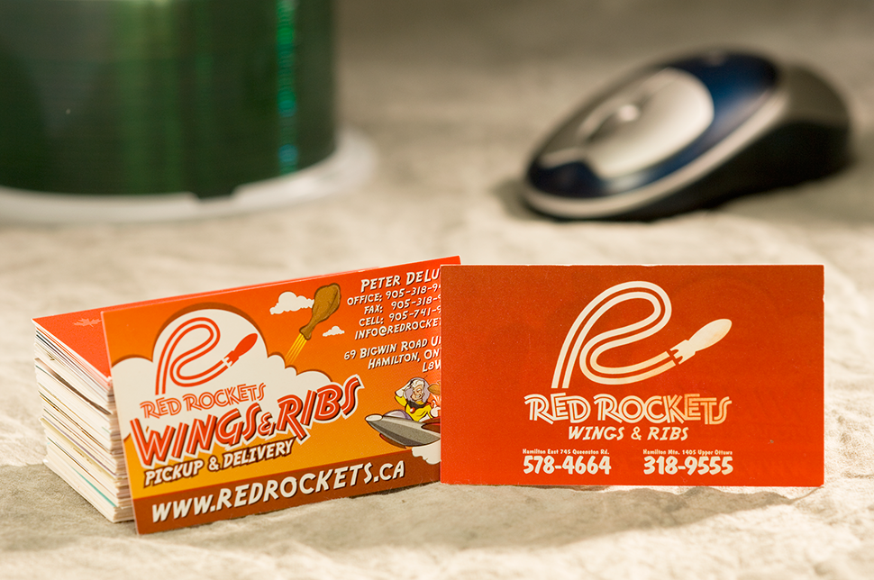 Mississauga Business Card Design by Kevin J. Johnston - Red Rockets Ribs and Wings