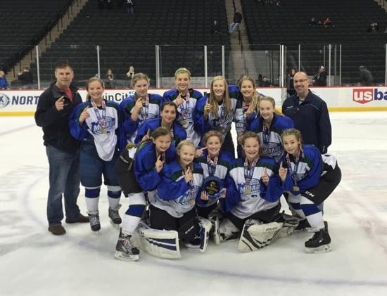 Proctor-Hermantown took the All-American Girls Peewee title, defeating the Thunder Bay Queens. Credit: YHH.