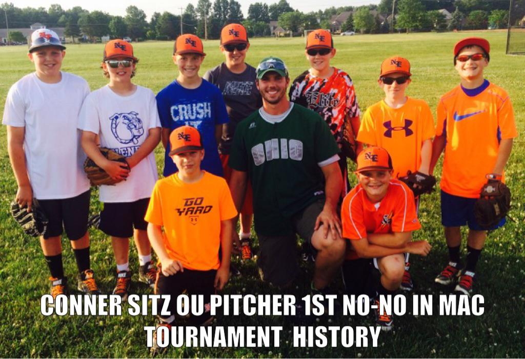 Conner Sitz Ohio University pitcher, 1st pitcher to throw a no hitter in MAC tournament history hanging out and working with the Naturals Elite 11U team.