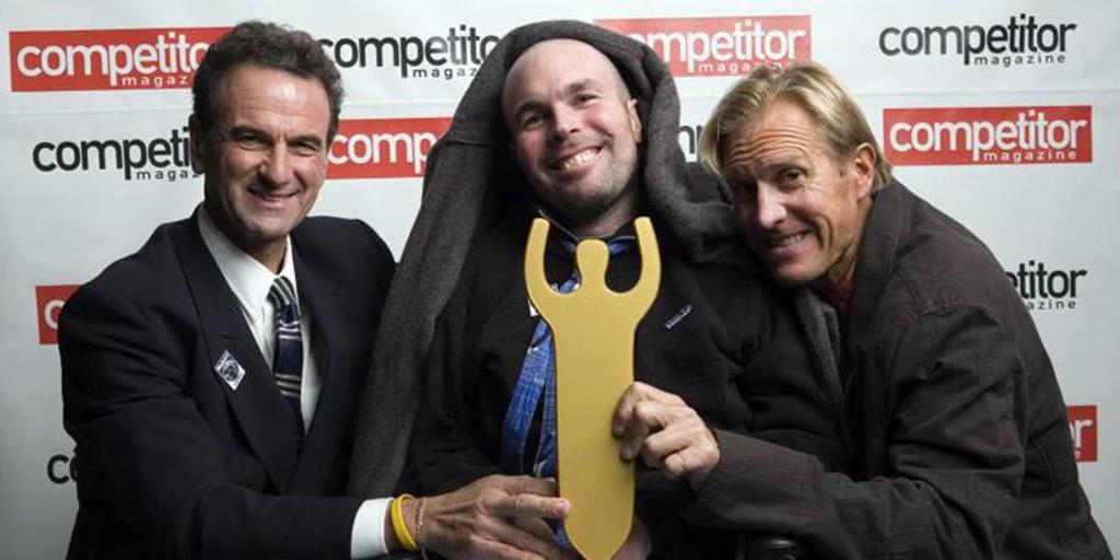 Blais (center) with Scott Tinley (right), and Rob Vigorito (left)