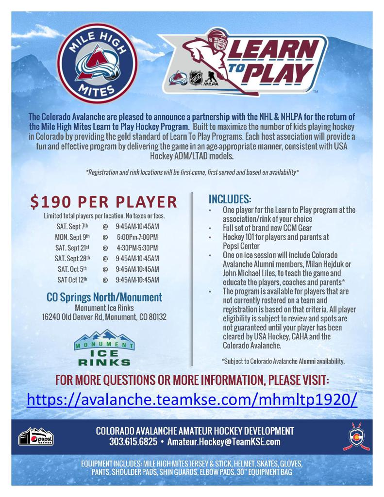 Colorado Avalanche Beginner Hockey Mile High Mites