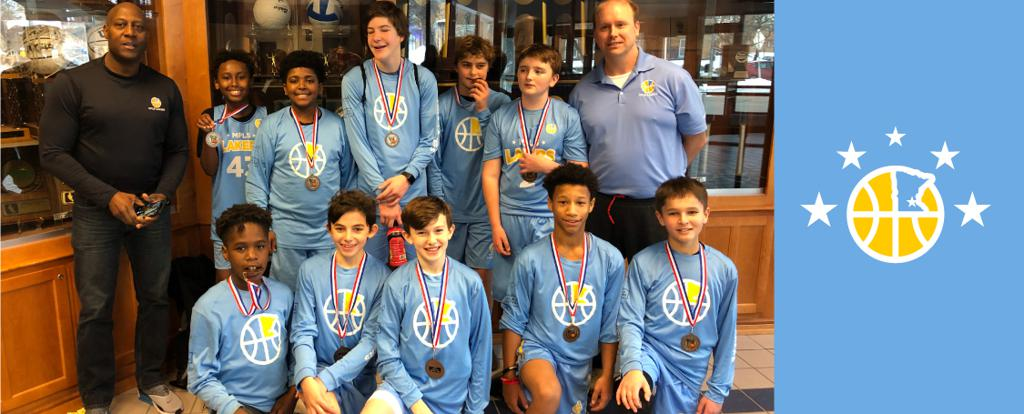 Minneapolis Lakers Boys 7th Grade Blue pose with their medals after earning 3rd place at the Concordia Golden Bears Classic tournament in St Paul, MN