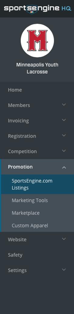 SportsEngine HQ Left Navigation (Listing)