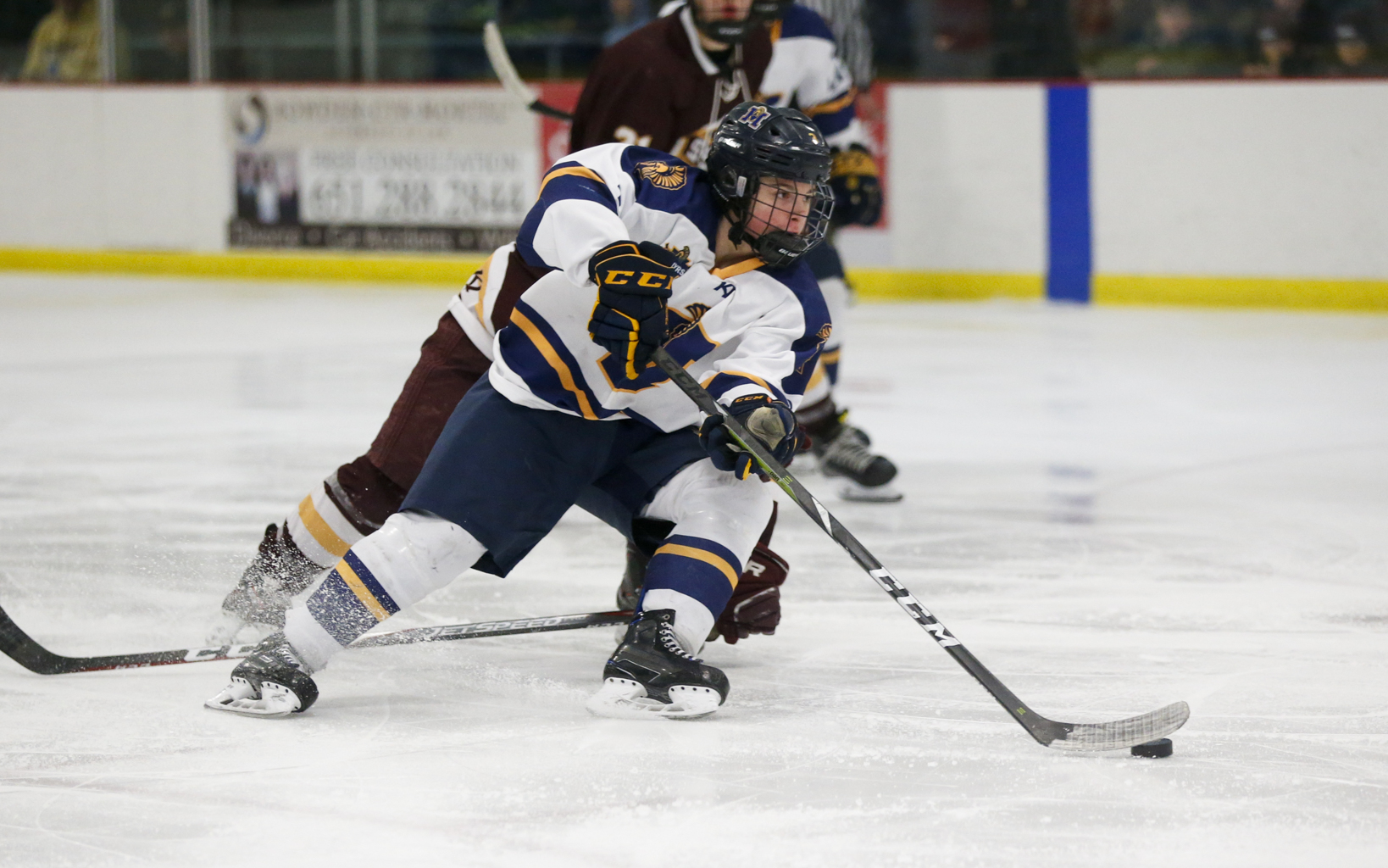 Mahtomedi's Grant Dardis (3) gets around a South St. Paul defender during Friday night's Class 1A, Section 4 final. The Zephyrs defeated the Packers 5-1 to advance to next week's state tournament. Photo by Jeff Lawler, SportsEngine