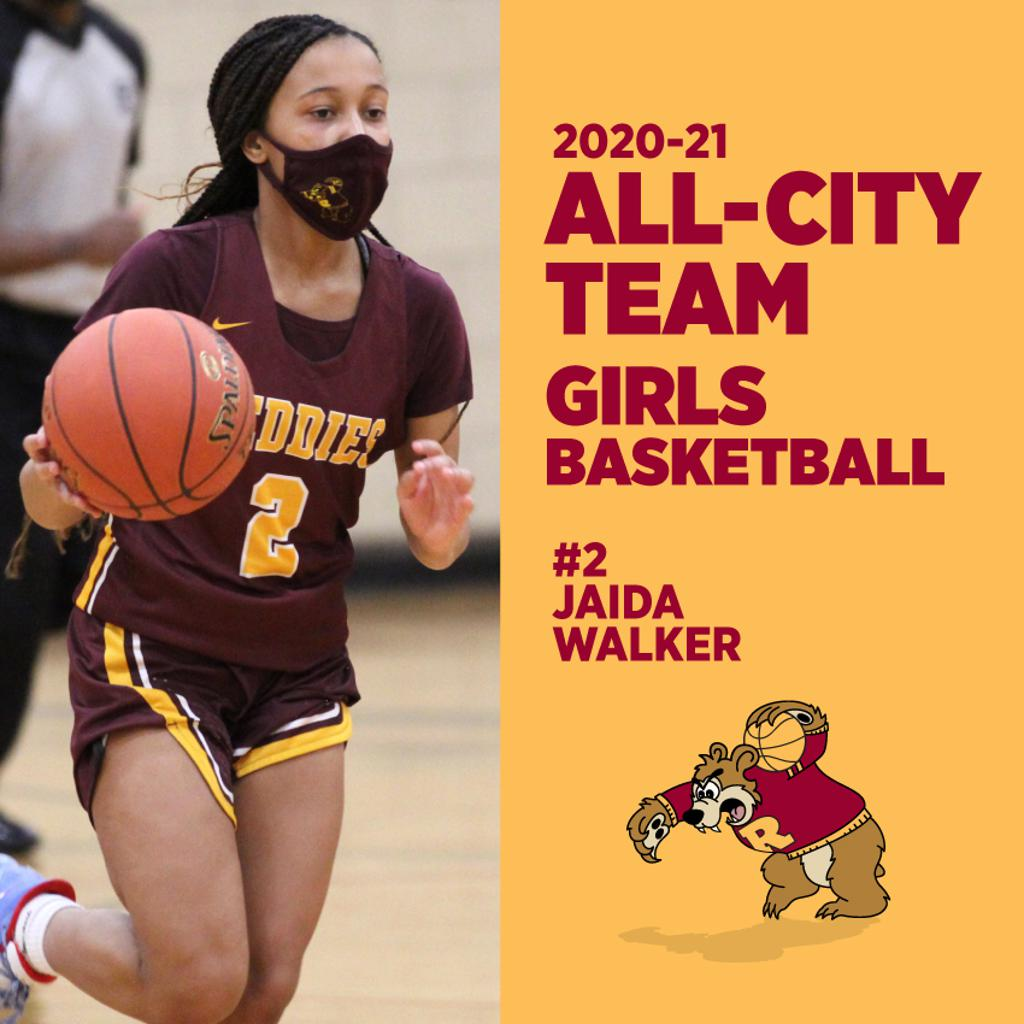 Minneapolis Roosevelt High School in South Minneapolis.  #2 Jaida Walker was named to the All-City Boys Basketball Team. This photo is her in action during one of the Girl's basketball games, Jaida brings the ball up the court.