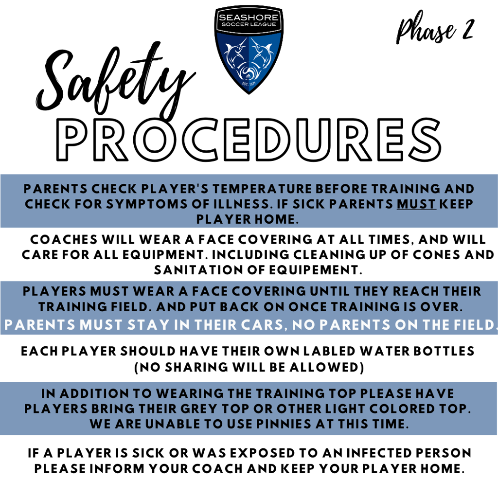 As the start to our season is nearing we wanted to give an update from NC Youth Soccer in addition to safety procedures for practice. The NCYSA Return to Activity document can be found at: https://www.ncsoccer.org/august-12-update-from-ncysa/
