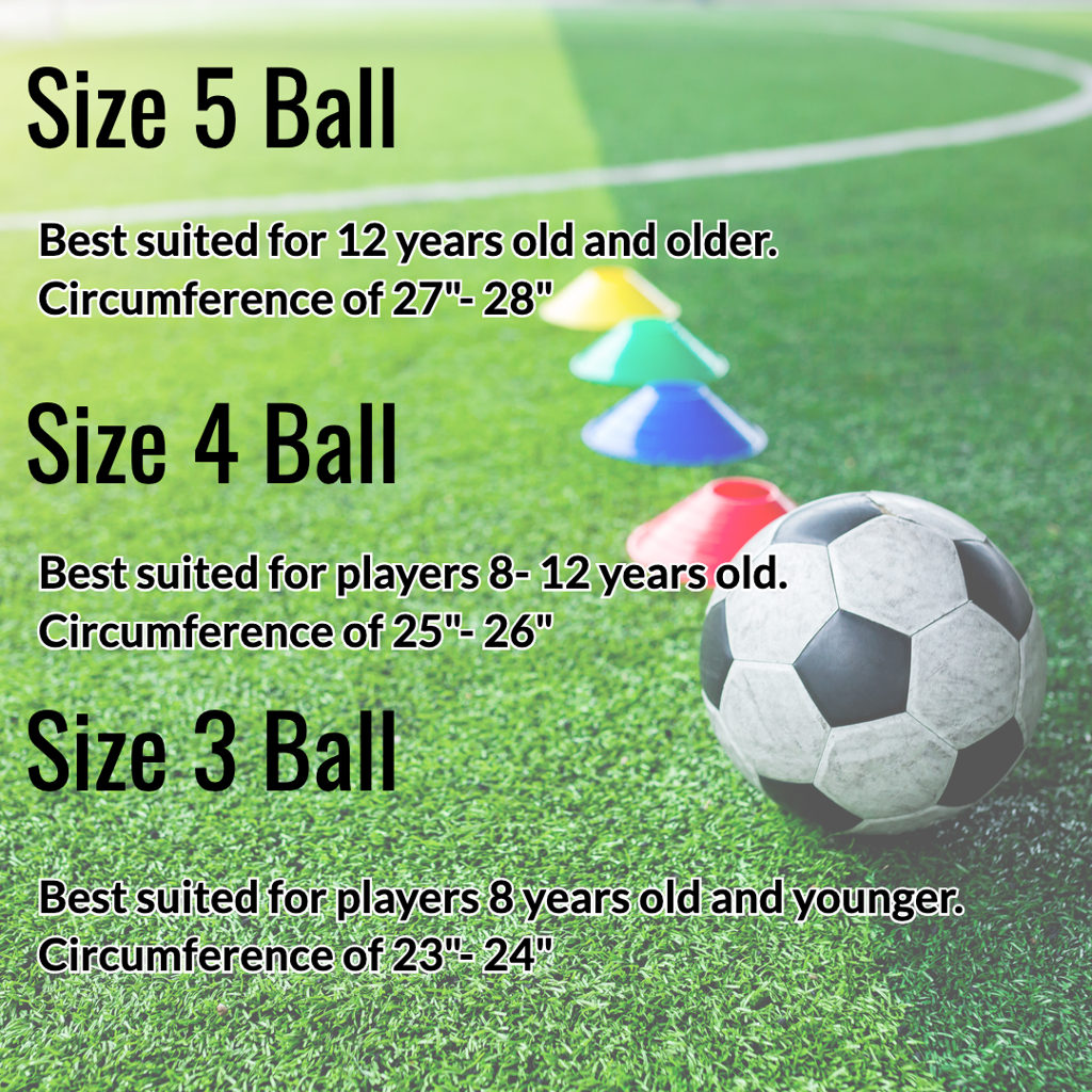 Soccer balls used in youth leagues come in sizes 3, 4, and 5. Please see the guide to determine the size ball your child needs.
