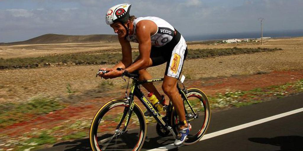 Johnson competing in a triathlon in his youth.