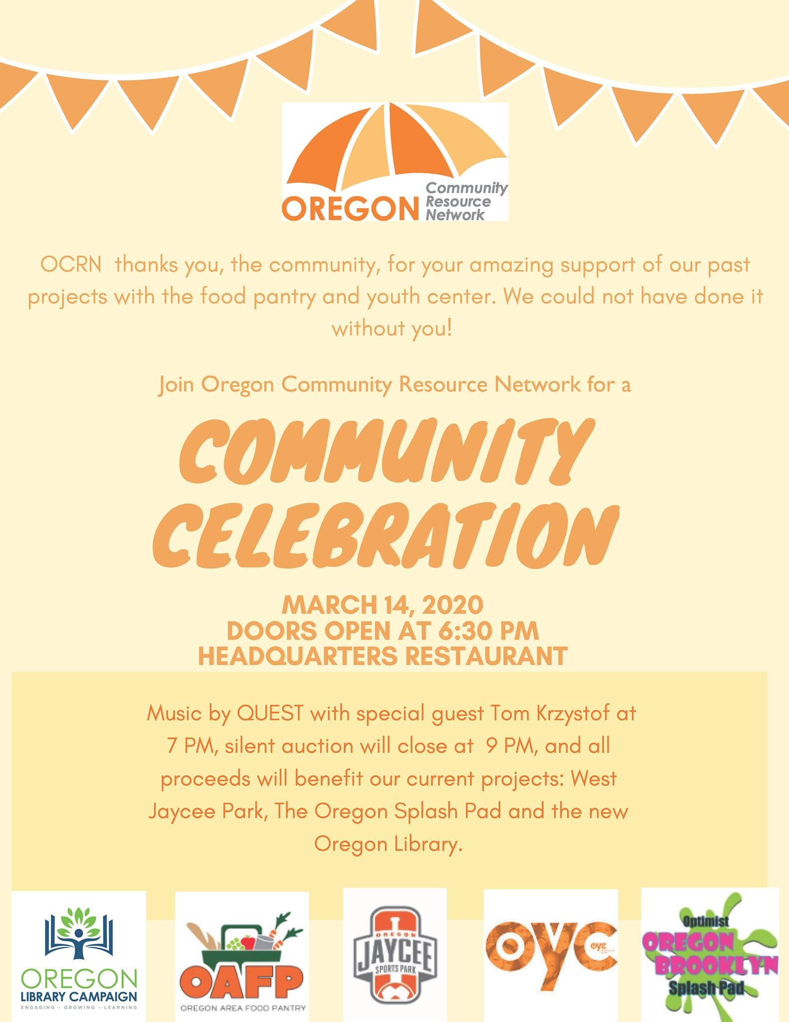 OCRN Community Celebration Flyer: March 14, 2020