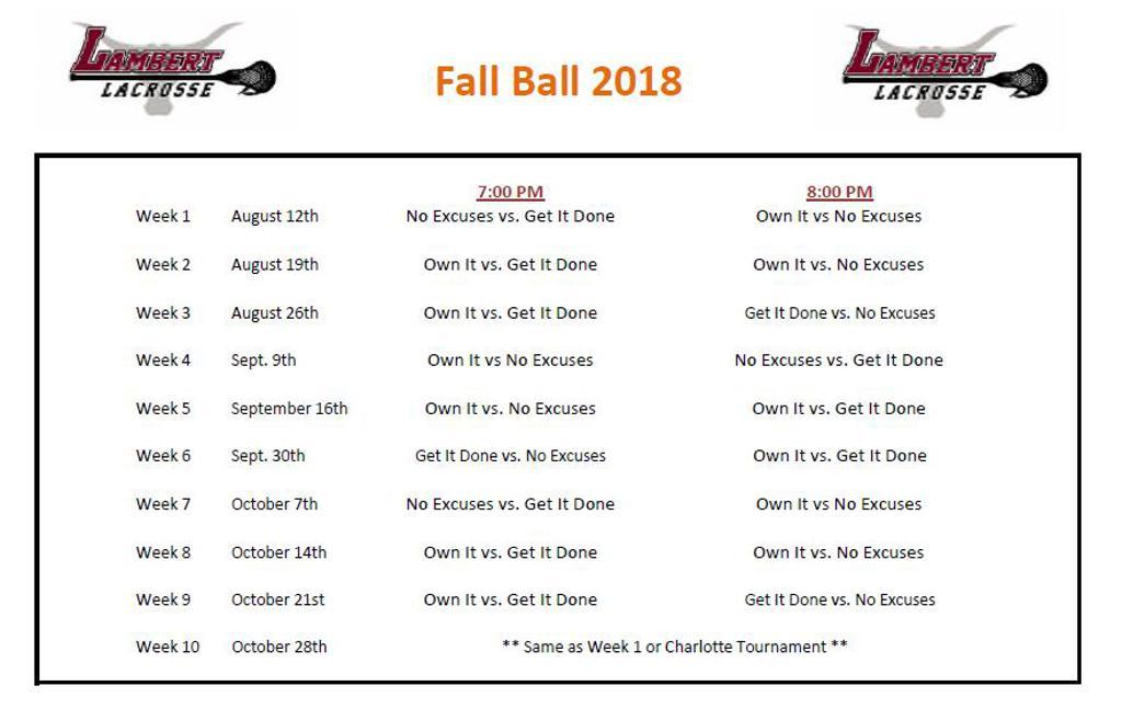 2018 Sunday Night Fall Schedule