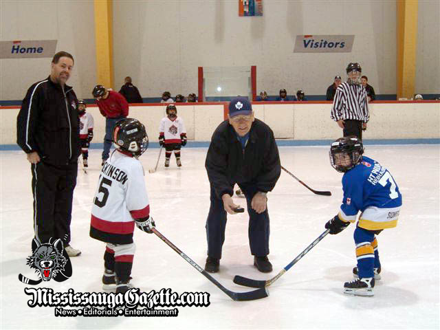 johnny bower at the credit valley wolf cub hockey games - johnny bower - toronto maple leafs