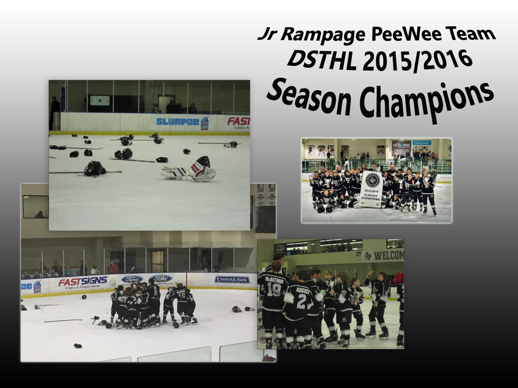 Pictures of the Jr Rampage team celebrating their season win.