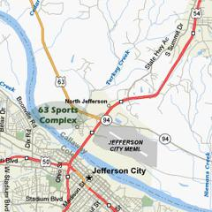 From Jefferson City, travel north of the Missouri River 1/2 mile on US 54/63 to Route W / Airport Road. Exit (hint: get in right lane when crossing the bridge). At the top of the ramp, turn left and go 1 mile west on Route W to the 63 Soccer Complex on th