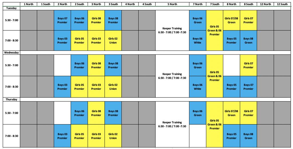 2002 - 2008 Training Schedule Spring 2021