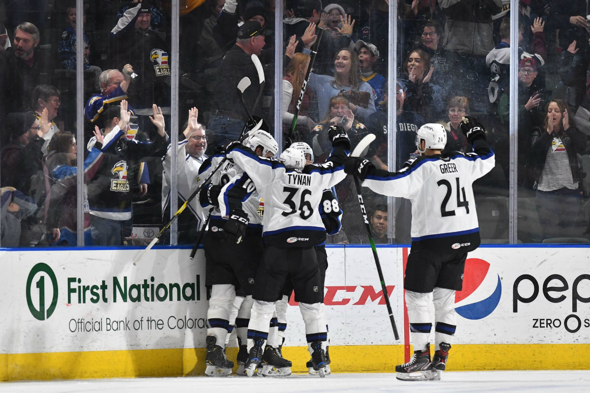 Members of the Colorado Eagles, the AHL affiliate of the Colorado Avalanche, celebrate after scoring a goal during a home game this season. Photos courtesy of Mcallaster Miller of the Colorado Eagles