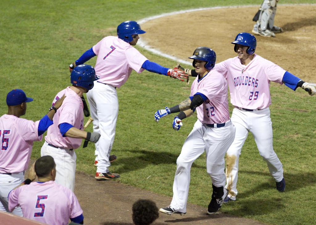 Boulders Players wear Pink Jerseys to help support the fight agaisnt breast cancer during the Boulders Pink in the Park event.