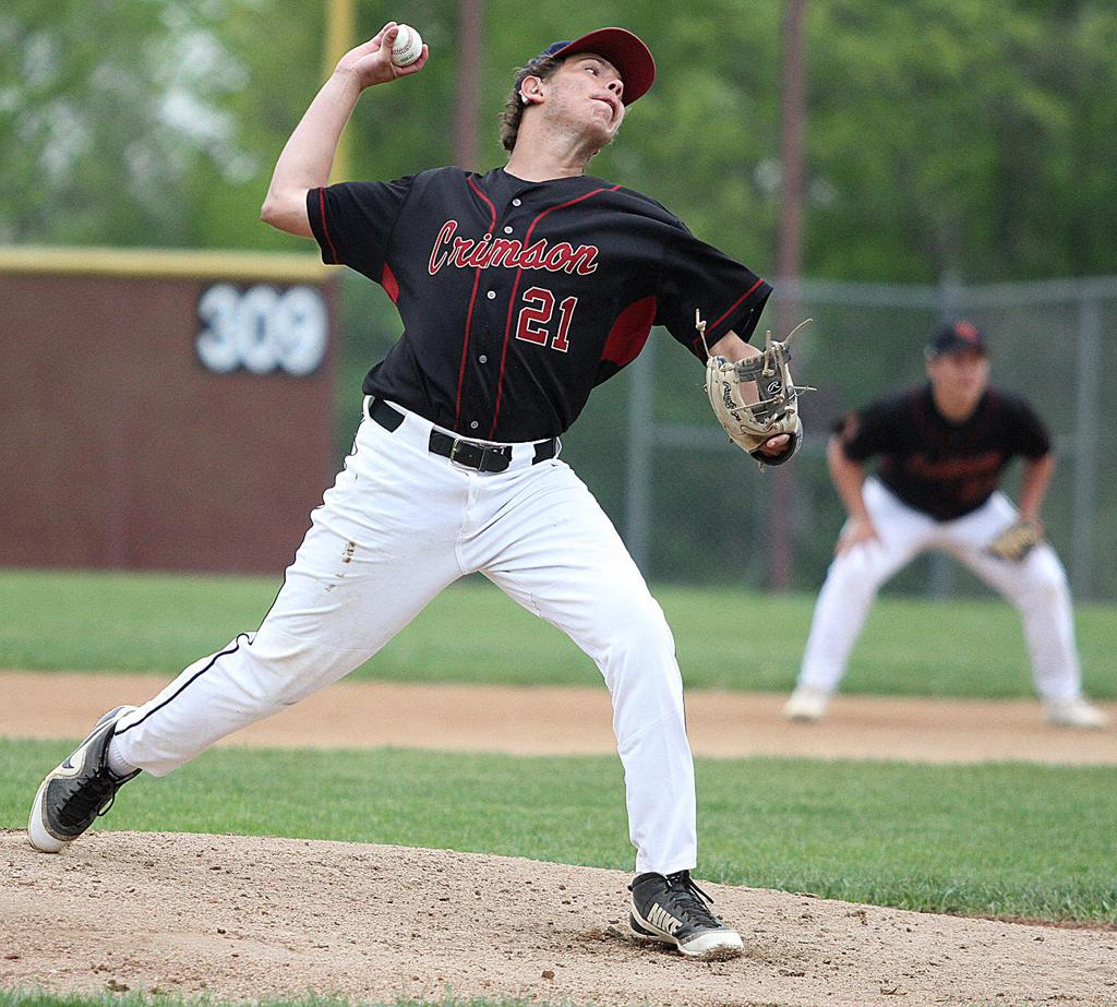 Maple Grove senior pitcher Kole Krier delivers in the second inning Tuesday evening at Maple Grove Senior High. Krier earned a complete game victory as the Crimson rallied from behind to defeat Champlin Park 3-2. Photo by Drew Herron, SportsEngine
