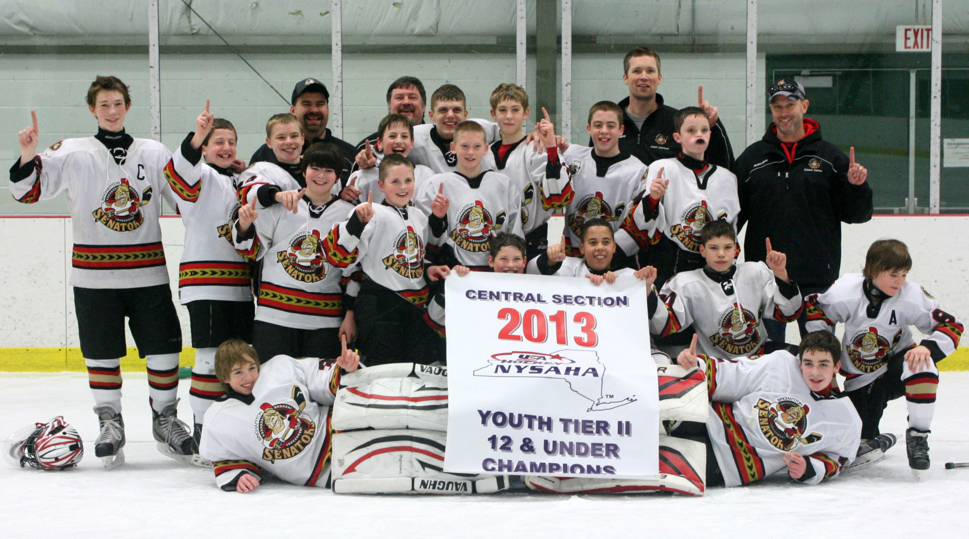 trophy case the binghamton jr senators peewee a team won the central section tour nt held in morrisville ny on 22 24th