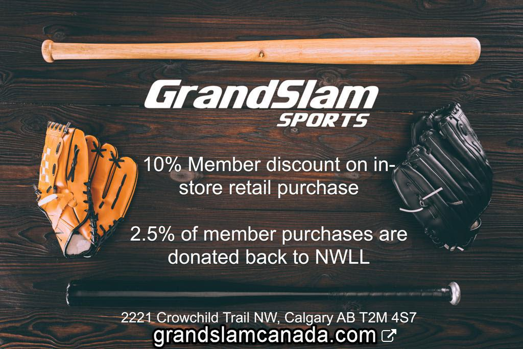 Grand Slam Sports Background with benefits to NWLL tan glove bat black glove bat